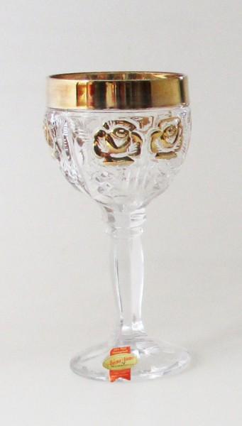 Anna Hütte Römer Weinglas Goldrand Rose floral Bleikristall Höhe 17,5 cm