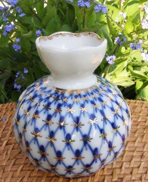 Lomonosov Kobalt Netz Vase 12 cm