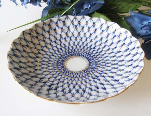 Lomonosov Kobalt Netz Gebäckschale 22 cm