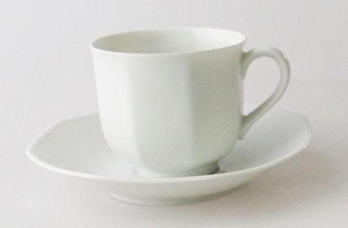 Heinrich Villeroy & Boch Facette weiß Kaffeetasse mit Untertasse