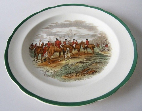 Spode The Hunt J.F.Herring Sen. The Meet Speiseteller 26.5 cm grüner Rand