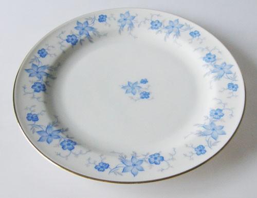 Sophienthal Frühstücksteller blaues Blumendekor mit Goldrand