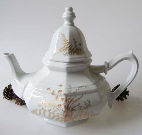 Gallo G.de Porcelaine Leonardo Fougere Goldfarn Teekanne für 6 Pers. 1,25 l
