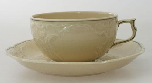 Rosenthal Sanssouci elfenbein mit grünem Rand Teetasse mit Untertasse, kl. Fehler