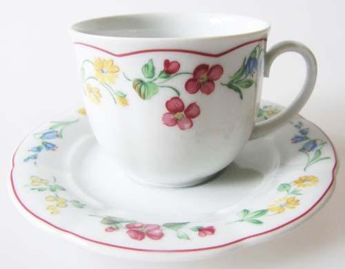 Mitterteich Form 2250 Stefanie roter Rand Kaffeetasse mit Untertasse