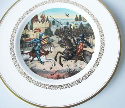 Sammelteller 23 cm Die König Arthur Teller Lanzelot befreit Königin Ginover Royal Worcester