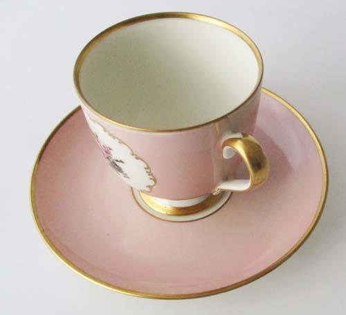 Fürstenberg Fürstin Medaillon 01578 Rosè Dekor 3 - Kaffeetasse mit Untertasse, klein