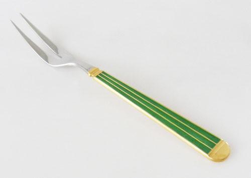 Vorlegegabel 19,7 cm Edelst. 18/8 teilvergoldet Marble grün Gallo Design Villeroy & Boch