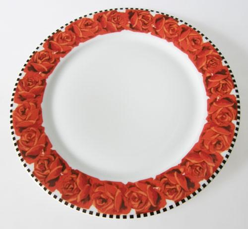 Dibbern rote Rosen schwarz weiss Frühstücksteller 21,5 cm