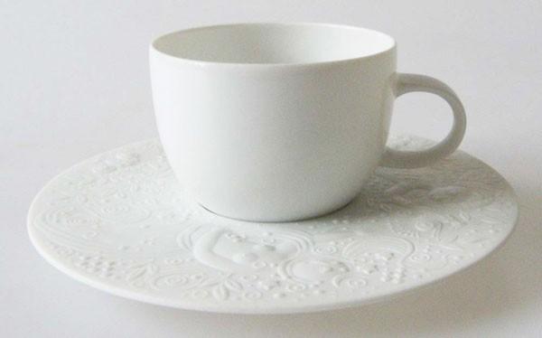 Rosenthal Zauberflöte weiss Mokka-/Espressotasse mit Untertasse